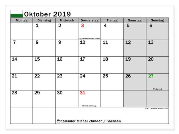 Kalender Oktober 2019, mit den Feiertagen in Sachsen. Kalender Feiertage frei zum ausdrucken.
