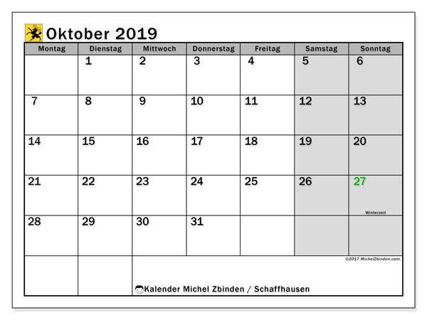 Kalender Oktober 2019, mit den Feiertagen des Kantons Schaffhausen. Kalender Feiertage frei zum ausdrucken.