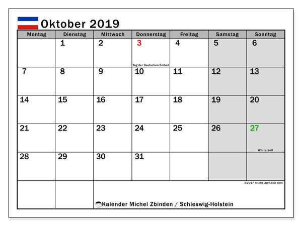 Kalender für Oktober 2019, , mit Feiertagen Schleswig-Holstein. Zeitplan zum kostenlosen ausdrucken.