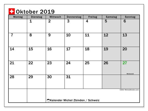 Kalender Oktober 2019, mit den Feiertagen der  Schweiz. Kalender mit Feiertagen zum kostenlosen ausdrucken.