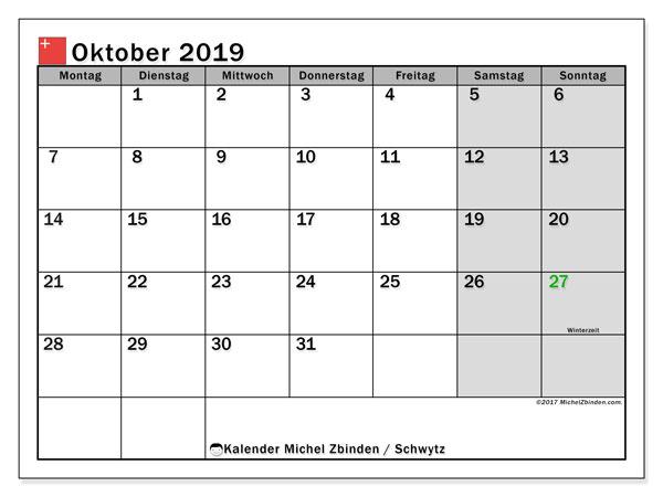 Kalender für Oktober 2019, mit Feiertagen des Kantons Schwytz. Planer zum kostenlosen ausdrucken.
