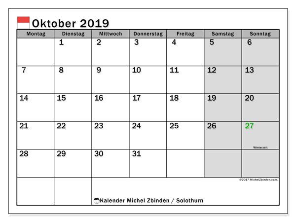 Kalender für Oktober 2019, , mit Feiertagen des Kantons Solothurn. Kostenlos ausdruckbare Planer.