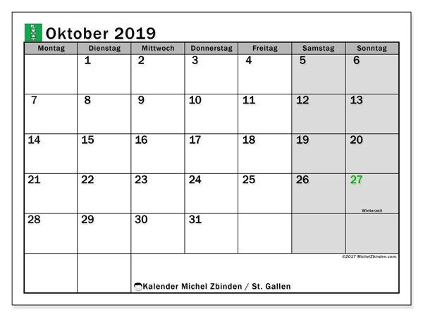 Kalender Oktober 2019, mit den Feiertagen des Kantons St. Gallen. Kalender mit Feiertagen zum kostenlosen ausdrucken.