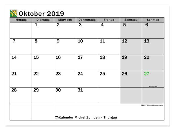 Kalender Oktober 2019, mit den Feiertagen des Kantons Thurgau. Kalender Feiertage frei zum ausdrucken.