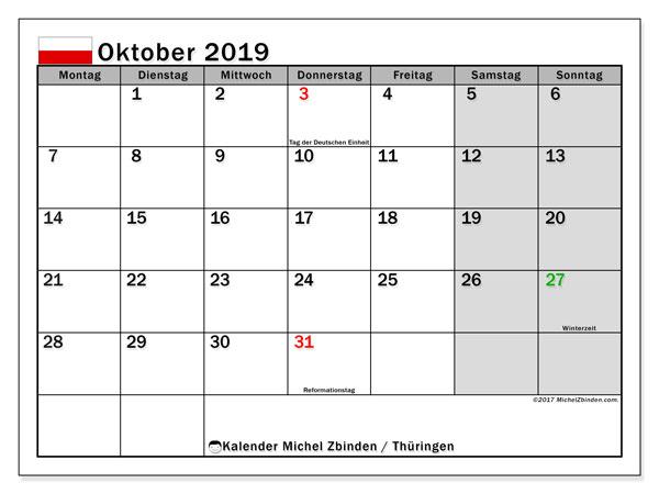 Kalender für Oktober 2019, , mit Feiertagen Thüringen. Planer zum kostenlosen ausdrucken.