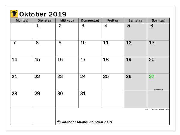 Oktober 2019 Kalender  - Uri. Kalender zum drucken: Offizielle Feiertage.