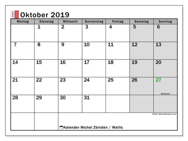 Kalender Oktober 2019, mit den Feiertagen des Kantons Wallis. Kalender mit Feiertagen zum kostenlosen ausdrucken.