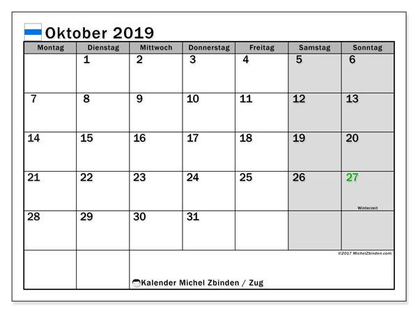 Kalender für Oktober 2019, , mit Feiertagen des Kantons Zug. Monatskalender zum kostenlosen ausdrucken.