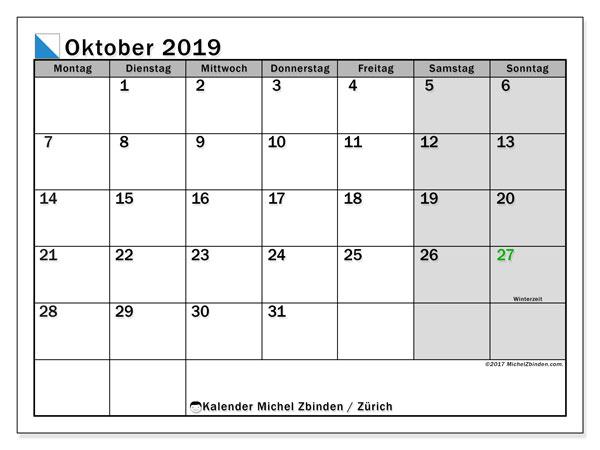 Kalender Oktober 2019, mit den Feiertagen des Kantons Zürich. Kalender mit Feiertagen zum kostenlosen ausdrucken.