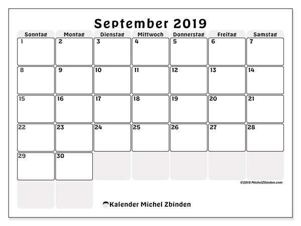 Kalender September 2019, 44SS. Monatlicher Kalender zum kostenlosen ausdrucken.