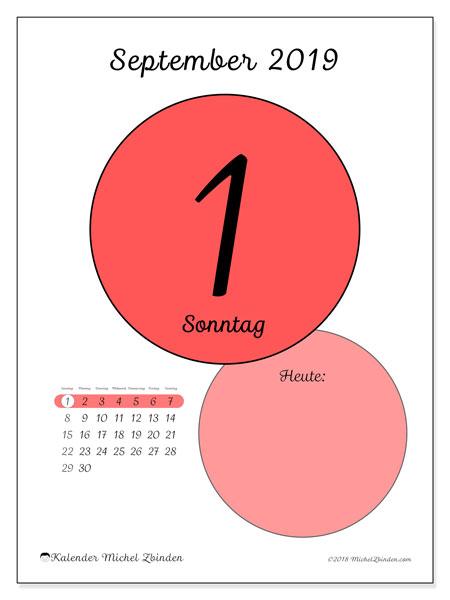 Kalender September 2019, 45-1SS. Kalender für den Tag, um kostenlos zu drucken.