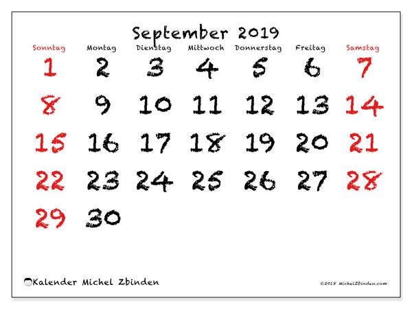 Kalender September 2019, 46SS. Monatlicher Kalender zum kostenlosen ausdrucken.