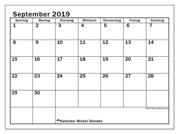 Kalender September 2019, 50SS. Monatskalender zum kostenlosen ausdrucken.