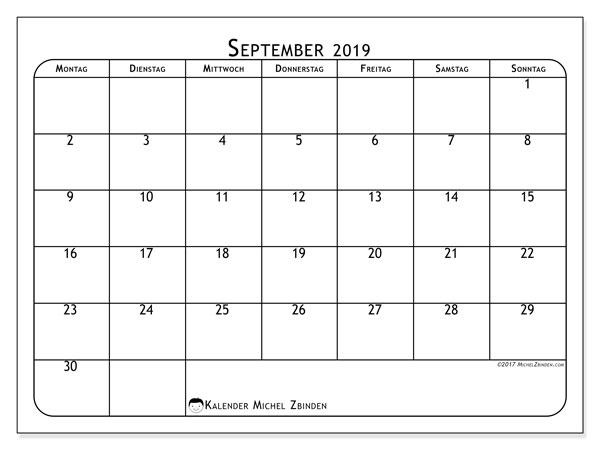 Kalender September 2019, 51MS. Zeitplan zum kostenlosen ausdrucken.