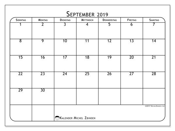Kalender September 2019, 51SS. Kostenloser Planer zum ausdrucken.
