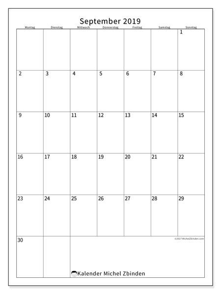 Kalender September 2019, 52MS. Zeitplan zum kostenlosen ausdrucken.