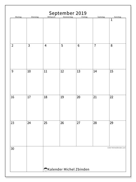 Kalender September 2019, 52MS. Kostenlos ausdruckbare Planer.