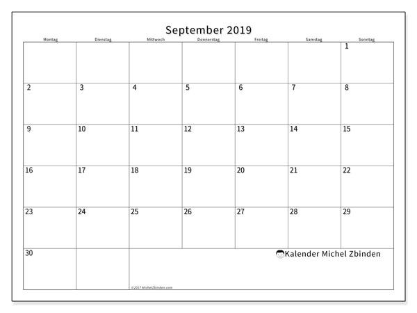 Kalender September 2019, 53MS. Kalender für den Monat zum kostenlosen ausdrucken.