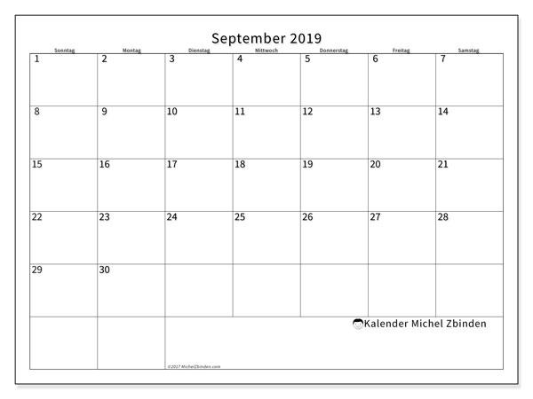 Kalender September 2019, 53SS. Monatlicher Zeitplan zum kostenlosen ausdrucken.