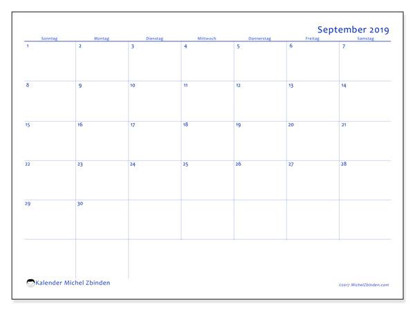 Kalender September 2019, 55SS. Kostenloser Zeitplan zum ausdrucken.
