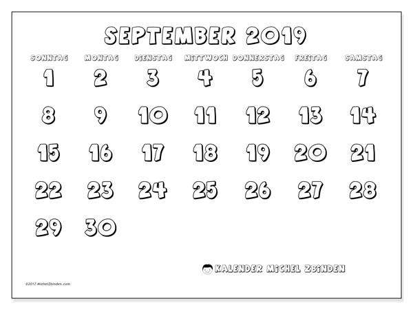 Kalender September 2019, 56SS. Monatlicher Zeitplan zum kostenlosen ausdrucken.