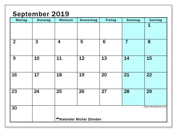 Kalender September 2019, 59MS. Monatlicher Zeitplan zum kostenlosen ausdrucken.