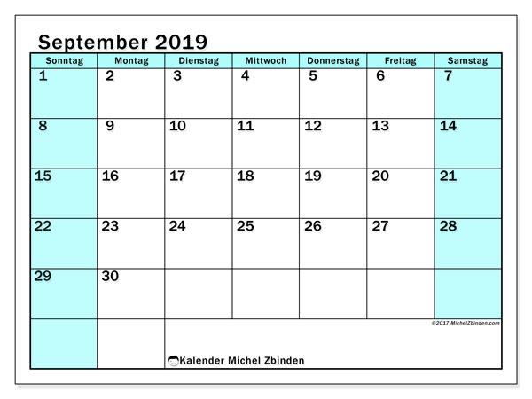 Kalender September 2019, 59SS. Kostenloser Zeitplan zum ausdrucken.
