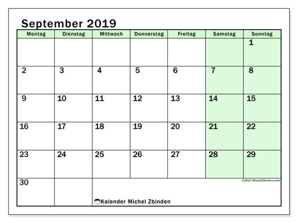 Kalender September 2019, 60MS. Kostenloser Planer zum ausdrucken.