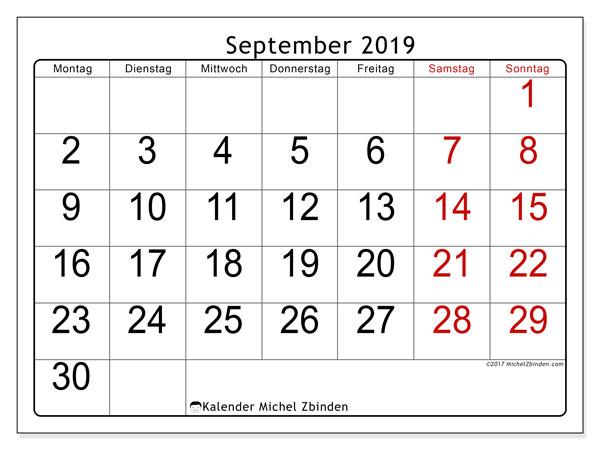 Kalender September 2019, 62MS. Kostenloser Zeitplan zum ausdrucken.