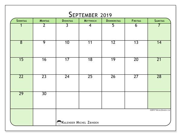 Kalender September 2019, 65SS. Kalender für den Monat zum kostenlosen ausdrucken.