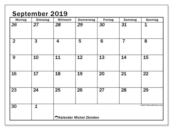 Kalender September 2019, 66MS. Monatlicher Kalender zum kostenlosen ausdrucken.