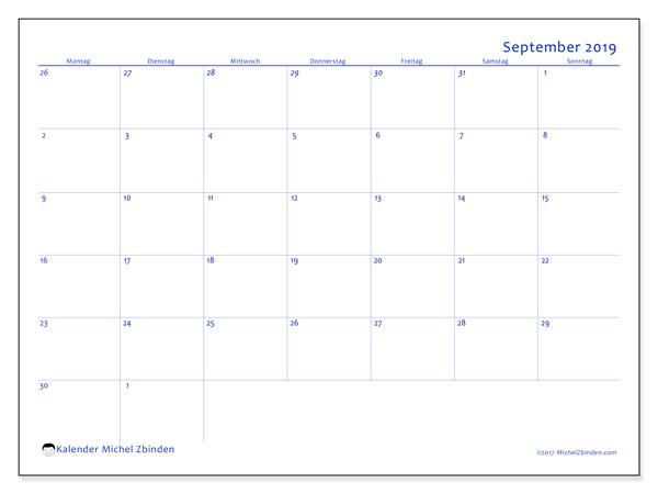 Kalender September 2019, 73MS. Monatskalender zum kostenlosen ausdrucken.