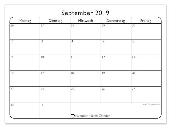 Kalender September 2019, 74SS. Kostenloser Kalender zum ausdrucken.