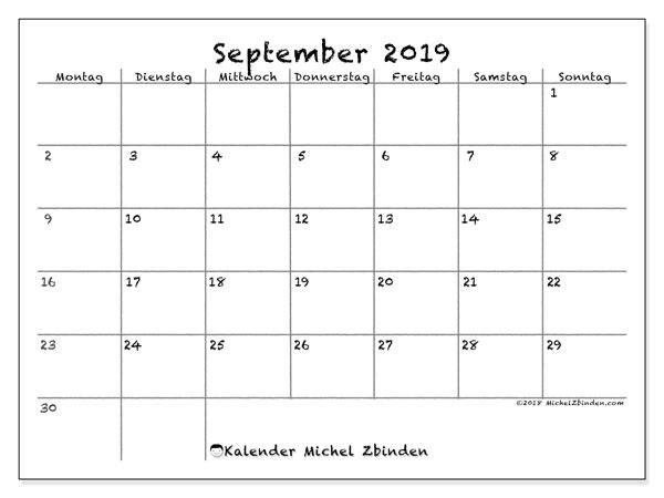 Kalender September 2019, 77MS. Monatlicher Zeitplan zum kostenlosen ausdrucken.