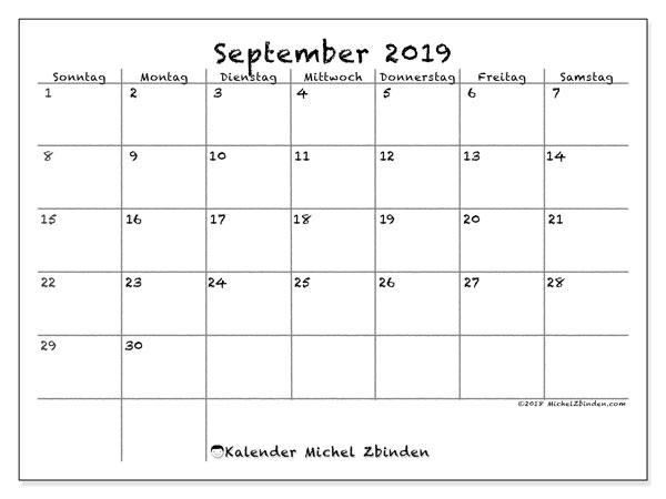 Kalender September 2019, 77SS. Kostenlos ausdruckbare Planer.