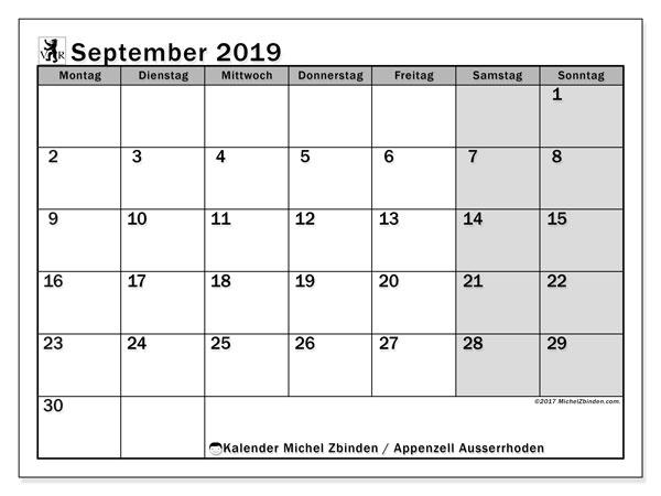 Kalender für September 2019, mit Feiertagen des Kantons Apenzell Ausserrhoden. Monatlicher Zeitplan zum kostenlosen ausdrucken.