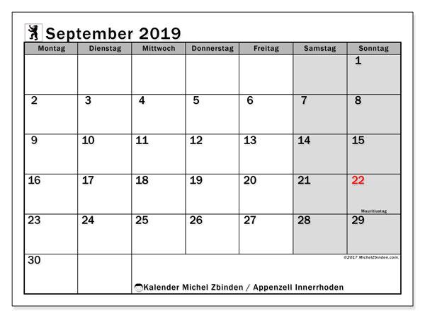 Kalender September 2019, mit den Feiertagen des Kantons Appenzell Innerrhoden. Kalender mit Feiertagen zum kostenlosen ausdrucken.
