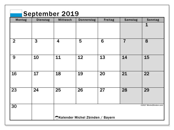 Kalender September 2019, mit den Feiertagen von Bayern. Kalender mit Feiertagen zum kostenlosen ausdrucken.