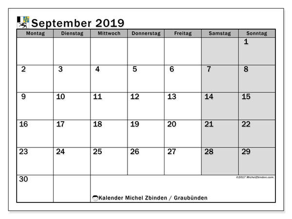 Kalender September 2019, mit den Feiertagen des Kantons Graubünden. Kalender mit Feiertagen zum kostenlosen ausdrucken.