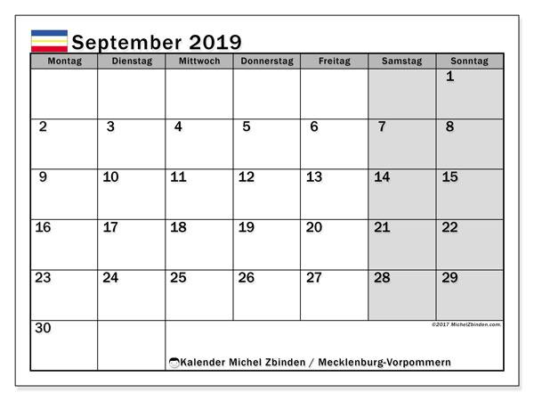 September 2019 Kalender  - Mecklenburg-Vorpommern. Kalender zum drucken: Feiertage.