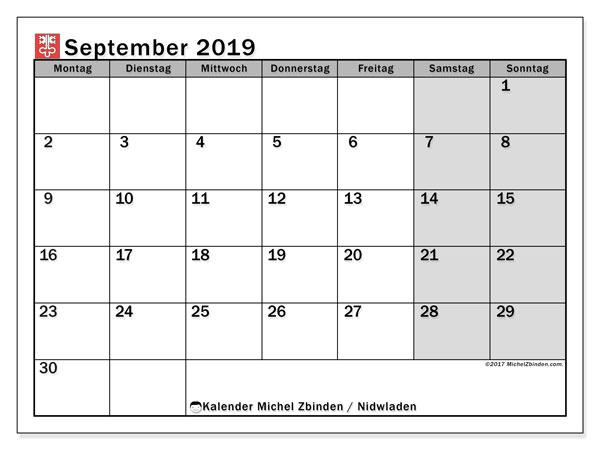 Kalender September 2019, mit den Feiertagen des Kantons Nidwalden. Kalender mit Feiertagen zum kostenlosen ausdrucken.