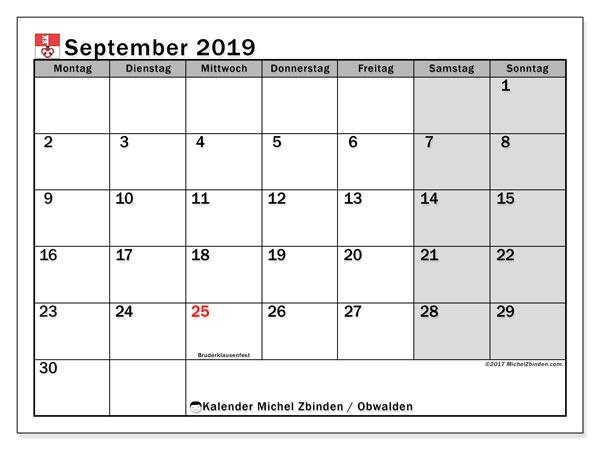 Kalender September 2019, mit den Feiertagen des Kantons Obwalden. Kalender Feiertage frei zum ausdrucken.