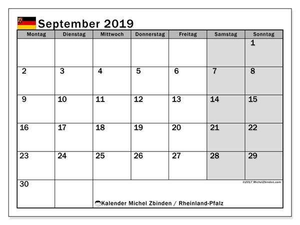 Kalender für September 2019, mit Feiertagen Rheinland-Pfalz. Zeitplan zum kostenlosen ausdrucken.
