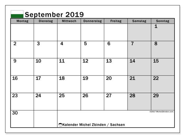 Kalender für September 2019, , mit Feiertagen Sachsen. Kostenloser Kalender zum ausdrucken.