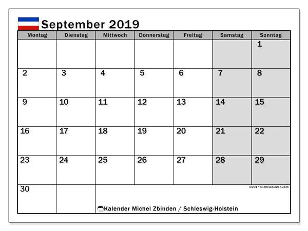 Kalender für September 2019, , mit Feiertagen Schleswig-Holstein. Kostenloser Kalender zum ausdrucken.