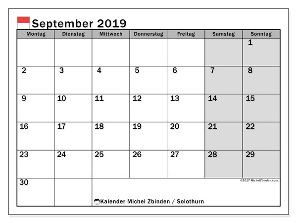 Kalender für September 2019, mit Feiertagen des Kantons Solothurn. Kalender für den Monat zum kostenlosen Ausdrucken.