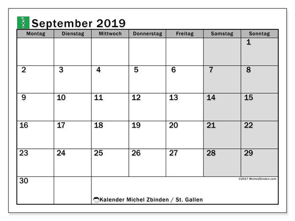 Kalender September 2019, mit den Feiertagen des Kantons St. Gallen. Kalender Feiertage frei zum ausdrucken.