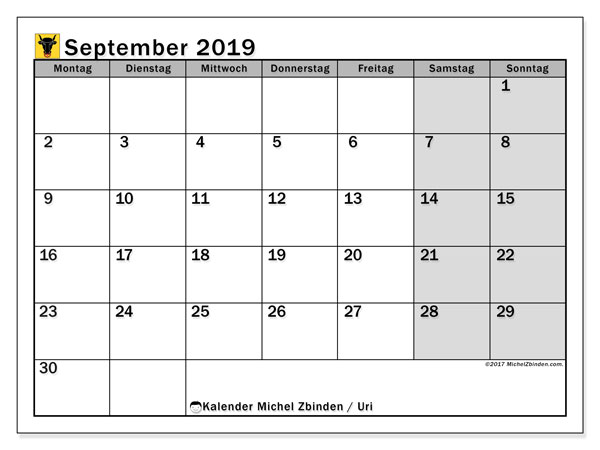 Kalender für September 2019, mit Feiertagen des Kantons Uri. Monatlicher Kalender zum kostenlosen ausdrucken.