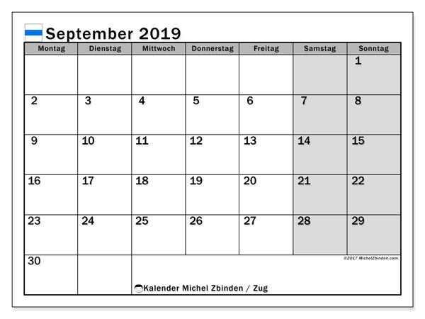 Kalender für September 2019, , mit Feiertagen des Kantons Zug. Kostenloser Planer zum ausdrucken.