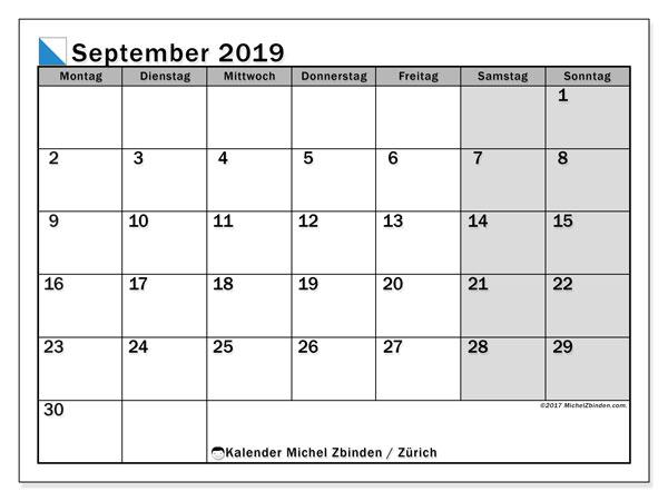 Kalender für September 2019, mit Feiertagen des Kantons Zürich. Zeitplan zum kostenlosen ausdrucken.